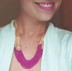 must DIY -- lengths of chain from the bead store, neon spray paint, statement necklace! awesome. - I HAVE to do this!!!