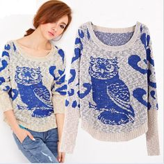 Find More Pullovers Information about Pullovers For Women 2014 Winter Fashion Sweater Owl Animal Coat For Girl Batwing Sleeve Ladies Elegant Casual Knitted Sweater ,High Quality sweater cat,China coat ladies Suppliers, Cheap sweater vest t shirt from FASEA Company on Aliexpress.com