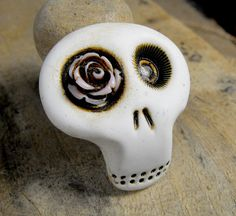 Mini sugar skull brooch with a lovely light by themonsterofmyheart, $14.00