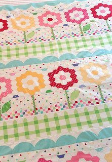 Sunrise Studio -- row quilt using a cheater hexagon fabric, but still cute for a child's quilt.