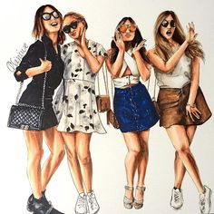 """Custom fashion illustration of 4 persons by """"LOOKillustrated"""", group illustration, portrait Best Friend Drawings, Girly Drawings, Fashion Design Drawings, Fashion Sketches, Friends Sketch, Drawings Pinterest, Girl Drawing Sketches, Girly M, Digital Art Girl"""