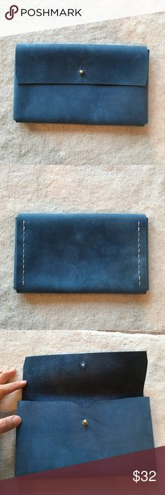 Leather blue clutch Faded blue leather clutch☘️gorgeous color, simple but chic☘️ sizable to carry iPhone, wallet, keys Bags Clutches & Wristlets