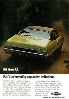 1969 Chevrolet Nova SS / Super Sport advertisement. This will always be one of my favorite cars owned. Miss that car