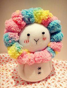 Kawaii bonito do arco-íris da boneca Sock Sock Flor Coelho / por Eleturtle