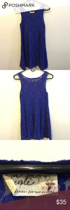 FREE PEOPLE Violet Blue Lace Skater Dress Free people dress made of lace and is sleeveless. Has no slip attached - very cute and is in a gorgeous color! Free People Dresses Midi