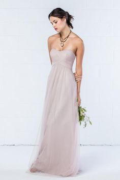 e5d28212359 Size 10 Latte Style 342 from Wtoo is simple and understated. This Bobbinet  long bridesmaid