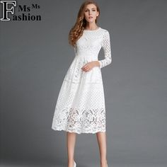 Lovely Lace Tea Length  Dress / In White -n- Black Lace