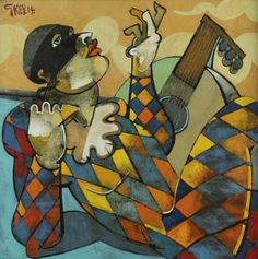 HARLEQUIN WITH LUTE Geoffrey Key