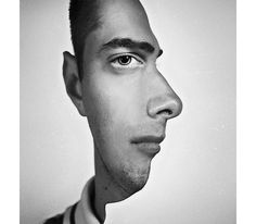 Photograph via persnicketypoop on Reddit - In this slightly jarring photo manipulation we see a a person's side profile and head on portrait spliced together. The result play's with your perception as your mind switches between each perspective.