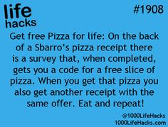 Bruh I could of been getting free pizza this whole time!  Well now I know for my future visits