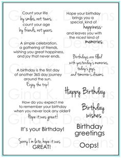 Gina K. Designs- Birthday Sayings