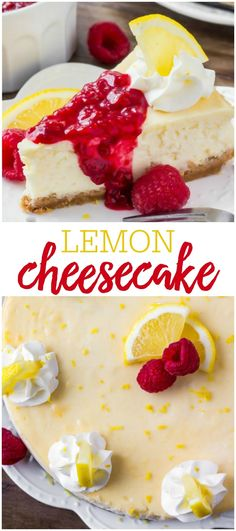 This lemon cheesecake is smooth and creamy with a crunchy graham cracker crust and delicious lemon flavor. Then it& topped with raspberry sauce for the perfect flavor combo. Lemon Cheesecake Recipes, Lemon Recipes, Cupcake Recipes, Cupcake Cakes, Dessert Recipes, Lemon Raspberry Cheesecake Factory Recipe, Cupcakes, French Cheesecake, Homemade Cheesecake