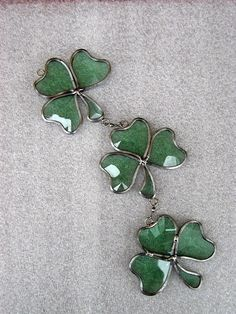 Beveled Stained Glass Shamrocks Green Bevel Stained by GlassCat, $22.00