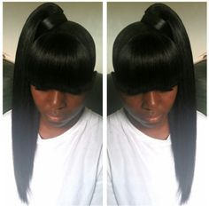 Beautiful Chinese Bang Hairstyles African American Chinese Bang Hairstyles African American - This Beautiful Chinese Bang Hairstyles African American ideas was upload on February, 23 2020 by admin. Black Ponytail Hairstyles, Hair Ponytail Styles, African Hairstyles, Weave Hairstyles, Girl Hairstyles, Curly Hair Styles, Natural Hair Styles, Bangs Ponytail, Sleek Ponytail