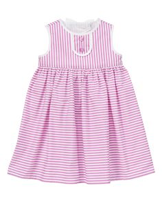 Gymboree 2014 Pinwheel Pastels Dots and Stripes Striped Button Dress in Grape Sorbet Stripe