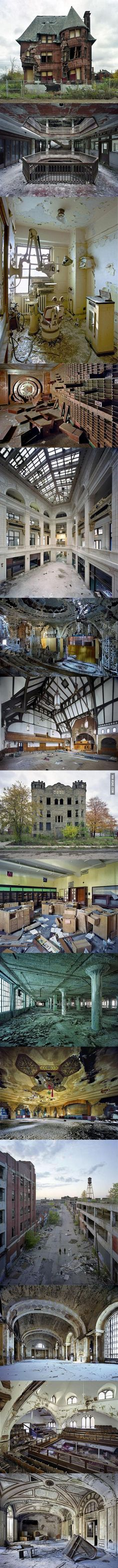 Detroit is the world's biggest ghost city. I wouldn't want to live in Detroit per say, but I love the idea of taking an abandoned house and remodeling it to be inhabited again. I love the stone one 8 pictures down.