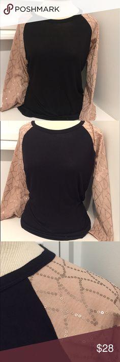 Lularoe Shirt Randy Tee Baseball Top Sequin Sleeve Lularoe Shirt Randy Tee Baseball Top Sequin Sleeve Jersey Black Pale Pink M LuLaRoe Tops Tees - Long Sleeve