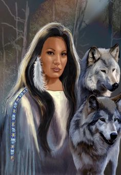 Fine Fantasy Art Women | ... With Wolfs Painting - Native American Maiden With Wolfs Fine Art Print