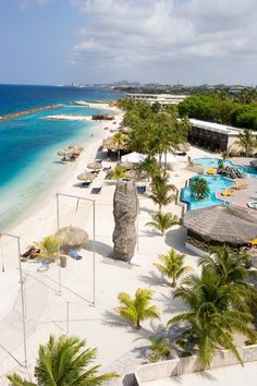 An aerial shot of the beautiful beach at Sunscape Curacao Resort, Spa & Casino - All Inclusive | Get Rates!