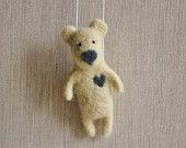 Felted Animal- Needle Felt Bear  Felted Ornament - Felted Decoration, Mustard Yellow Bear