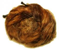 This was one of the amazing finds to come from the excavation of a Roman cemetery on the building site of York railway station.  It is the hair of a young Roman, styled in a bun and complete with two hair-pins. The find was made in May 1875.  It was in a stone coffin lined with a lead sheet and filled with gypsum - a plaster-like material poured around the body.  Records of the Yorshire Philosophical Society from 1875 say the coffin held the remains of a girl around 15-16 years old.