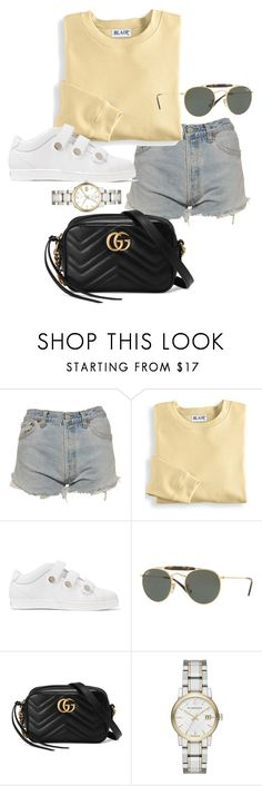 """Untitled #22329"" by florencia95 ❤ liked on Polyvore featuring Levi's, Blair, Jimmy Choo, Ray-Ban, Gucci and Burberry"