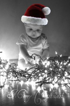 2015 Christmas baby photography idea of wearing Santa hat - holiday lights, Merry Christmas Unique Christmas Cards, Christmas Card Pictures, 1st Christmas, Holiday Photos, Holiday Fun, Christmas Holidays, Christmas Lights, Holiday Quote, Xmas Pics