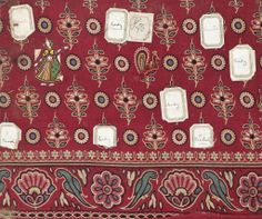 Textile sample of Turkey red dyed and printed cotton with various labels attached showing which motifs should be used where. The design consists of woman in sari, floral motifs and peacocks in the filling and a border of parrots and lotus flowers. Part of the Turkey Red Collection A.1962.1266.1 - A.1962.1266.78, with subdivisions, totalling c. 40,000 items: Scottish, Dunbartonshire, 1888
