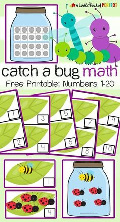 "Kids will have fun learning with this ""catch a bug"" math activity and free printable. The activity includes numbers 1-20, several different bug jars, a 10-frames chart, and was designed so you can adapt it to suit your child's needs. This fun and easy to prep activity for preschoolers is great for learning numbers or as a fun way to review! #spring #math #kindergarten #preschool #printable #learning #bugs Insect Activities, Spring Activities, Preschool Activities, Preschool Printables, Preschool Bug Theme, Educational Activities, Special Education Activities, Free Printables, Preschool Learning"