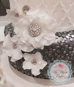 diamante ruffle flowers