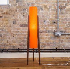 Walnut Floorstanding Rocket Lamp 70s Orange Danish Midcentury Retro Modern