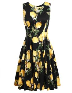 Blue Vintage Style Sleeveless Lemon Print Swing Skater Casual Dress