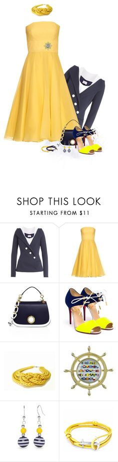 """Nautical"" by sharonbeach ❤ liked on Polyvore featuring Thierry Mugler, Alexander McQueen, Michael Kors, Christian Louboutin, Kim Rogers, Anchor & Crew, MIANSAI and strapless"