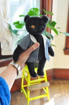 Classic Jointed Mohair Teddy Bear: Polka Dot Club