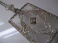 Circa 1900 EDWARDIAN Etched Rock Crystal & DIAMOND Pendant Necklace / Antique Bridal Perfection Jewels