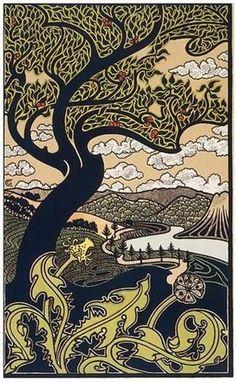 Gisbert Combaz . Tree & Valley . Circa 1898 - via