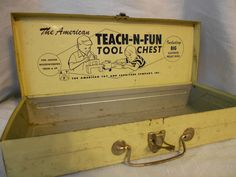 Vintage 1940's Teach N Fun Metal Tool Chest