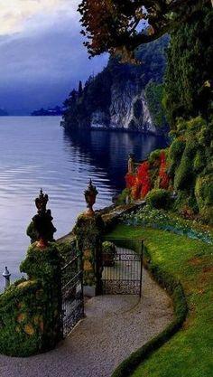 Gate opens to Lake Como, Italy