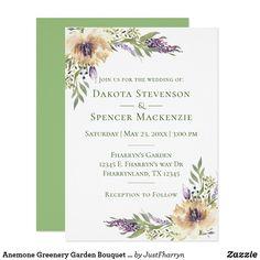 Anemone Greenery Garden Bouquet Chic Boho Wedding Invite #bohochic #bohochic #bohowedding