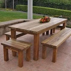 """Farm style outdoor dinner table. dimensions are 30"""" tall, 36"""" deep and 72"""" long. Includes 4 benches. All surfaces are sanded smooth and weather proofed and an additional clear coat polyurethane sealant applied to the table top and benches for easy clean up. I do wide array if wood projects using recycled wood and I model most of pieces off ideas from Pinterest and Etsy. Feel free to text, call or email me. 910.381.8551 Daniel."""