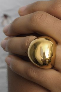Linhardt small pebble ring 18k gold vermeil