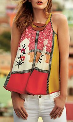 love the colors, love the top! pretty patterned tank http://rstyle.me/n/iz7yrr9te