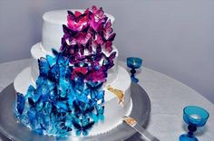 Wedding Cake with magenta and turquoise Butterflies