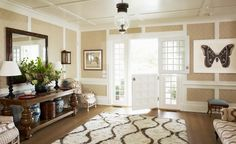 Markham Roberts-Entry with Wallpaper, Brown Ikat, Wicker