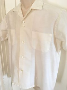 7f6e3dba5593f1 1950s Stephen's Gentleman's Resort Wear Champagne Silk Cotton Short Sleeve  Shirt-M