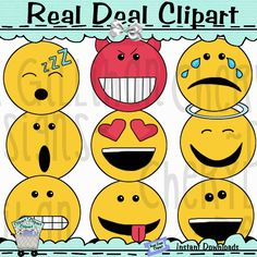 Emojis Clip Art.  Original Artwork by Cheryl Seslar   Whimsical commercial use clip art set perfect for card making, scrapbooking, craft projects, diy birthday invitations and party favors it's unlimited what you can do.