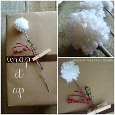 DIY Snow Sprinkled Pom Pom Flowers! #winter #crafts