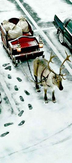 Santa in sleigh on street, santa_claus_parking, Santas Sleigh Parked Noel Christmas, Merry Little Christmas, Christmas Is Coming, Winter Christmas, Winter Holidays, Vintage Christmas, Reindeer Christmas, Happy Holidays, Christmas Humor