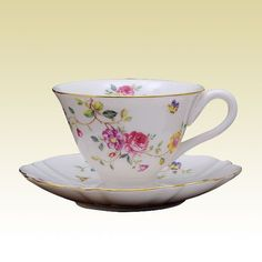 2 Vining Dahlia Porcelain Teacups and Saucers (2 Tea Cups and 2 Saucers) - Assorted Tea Cups - Roses And Teacups
