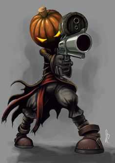 Steampunk jack-o'-lantern assassin wishes you a happy halloween! Illustration by Craig Bruyn, http://redfrog.cgsociety.org/art/steampunk-photoshop-character-concept-fantasy-pumpkin-jack-lantern-paint-speed-assassin-gun-revolver-barrel-2d-851704